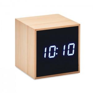 LED ébresztőóra bambusz házzal