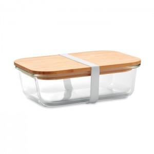 Üveg/bambusz uzsonnás doboz