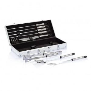 12 db-os grillező készlet alumínium dobozban, ezüst színű