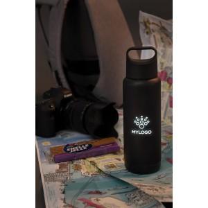 Szivárgásmentes palack átvilágított logóval, fekete