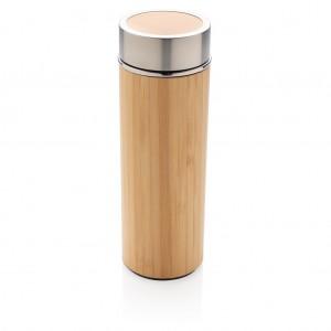 Szivárgásmentes vákuum bambusz palack, barna