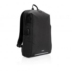 Swiss Peak RFID és USB laptop hátizsák, PVC-mentes, fekete